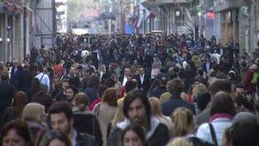 Crowd of people walking /Istanbul / Taksim April 2014 stock footage