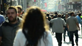 Crowd of people walking /Istanbul / Taksim April 2014 stock video