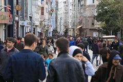 Crowd of people walking in the Istiklal Istanbul  April  2015 Stock Photo