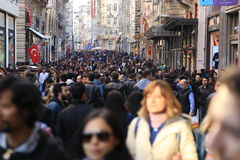 Crowd of people walking in the Istiklal Istanbul  April  2015 Royalty Free Stock Images