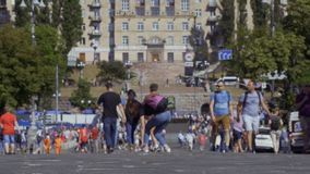 Kyiv, Ukraine - May 26, 2018 - People walking at the high street in the city stock video footage