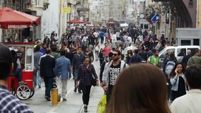Crowd of people walking in the street Istiklal Street. Taksim, Istanbul stock video footage