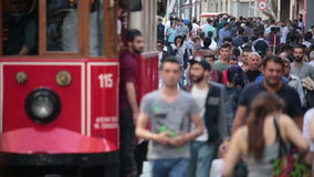 Crowd of people walking the streets. Istanbul/Taksim/Istiklal/April/2016 stock video