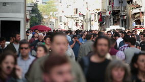 Crowd of people walking the streets. Istanbul/Taksim/Istiklal/April/2016 stock video footage