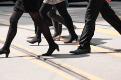 Crowd of people walking on zebra crossing street Royalty Free Stock Images
