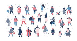 Crowd of people in warm winter clothes walking on street, going to work, talking on phone vector illustration