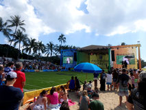 Crowd of people watch action on stage during Pro Bowl Beach even Stock Photography