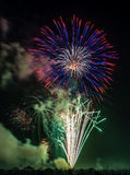 Crowd of people watching fireworks display on the beach Seaside Oregon Stock Photography