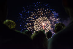 Crowd of people watching fireworks Royalty Free Stock Photo