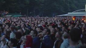 Crowd of people watching football stock video footage