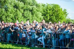 Crowd of people watching Historical reenactment Royalty Free Stock Images