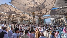 A Crowd Of Pilgrim At Medina Mosque. Masjid-Al-Medina Mosque In Saudi Arabia royalty free stock images