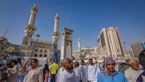 A Crowd Of Pilgrim In Saudi Arabia. A Crowd Of Pilgrim At Medina Mosque In Saudi Arabia stock photo