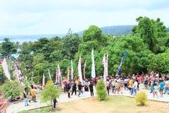Crowd of pilgrims on Mansinam stock photos