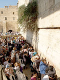 The crowd of pilgrims prays at the Wailing Wall in Jerusalem, Is Stock Images
