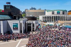 Crowd on Place des Arts in Montreal royalty free stock photography
