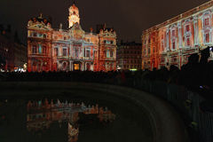 The crowd on Place des Terreaux during Festival of Lights Stock Images