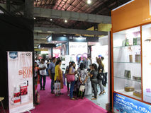 Crowd at Professional Beauty Expo 2015. This is photo of people purchasing beauty products at stall venue is Bombay Exhibition Centre,Mumbai Date is 6th October royalty free stock photos