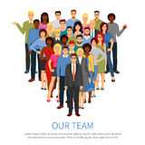 Crowd Professional People Team Flat Poster. Professional people group flat composition poster with top office business team manager and staff members vector Royalty Free Stock Image