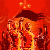 Crowd Protest Revolution Poster Propaganda Background. Crowd protest fist revolution poster design. Men and women leader in front of a crowd. Propaganda royalty free illustration