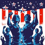 American Crowd protest fist revolution poster design Royalty Free Stock Image