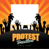Crowd with protest signs burst background Royalty Free Stock Photo