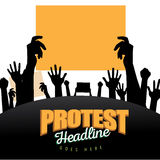 Crowd with protest signs silhouette background Stock Photography