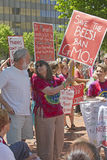 Crowd of Protesters With Anti-GMO and Monsanto Signs at a Rally Stock Photos