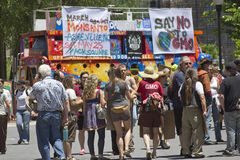 Crowd of Protesters At An Anti-GMO Rally in Asheville, NC on May Royalty Free Stock Image