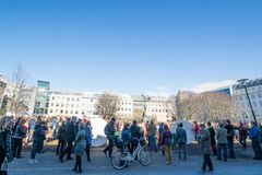 Crowd protesting against the government of Iceland during the Pa Stock Photo
