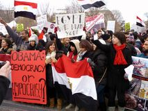 Crowd Protesting Against Hosni Mubarak Stock Photography