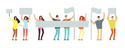 Crowd of protesting people with banners, flags. Voting students at demonstration. Political meeting and protest vector. Concept isolated. People crowd with flag royalty free illustration