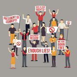 Crowd Protesting People Composition Royalty Free Stock Photos