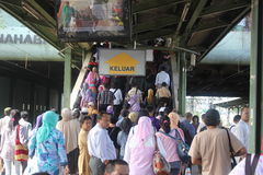 Crowd at Railway Station. Jakarta, Indonesia, 21 March 2012 -Passengers walk at a railway station in Jakarta Stock Photos