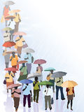 Crowd in rain Royalty Free Stock Image