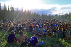 A crowd at the rainbow gathering in Utah. Royalty Free Stock Photography