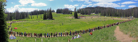 A crowd at the rainbow gathering in Utah. Stock Images