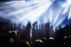 Crowd with raised hands Stock Photos