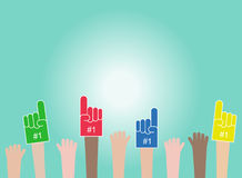 Crowd. Raised hands wearing foam fingers. The fans exult for win. Vector Royalty Free Stock Images