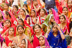 A crowd of Rajasthani women Royalty Free Stock Images