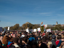 Crowd during Rally to Restore Sanity and/or Fear. A view of the crowd holding signs for the Rally to Restore Sanity and/or fear with Comedy Central comedians Jon Stock Photo