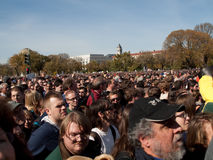 Crowd during Rally to Restore Sanity and/or Fear. A view of the crowd holding signs for the Rally to Restore Sanity and/or fear with Comedy Central comedians Jon Royalty Free Stock Photos