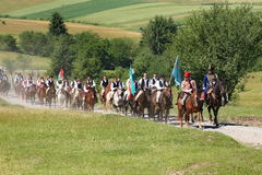 Crowd of religious pilgrims people during a Cathol. Crowds of Hungarian pilgrims gather to celebrate the Pentecost and the catholic pilgrimage in Sumuleu Ciuc ( stock photo