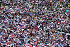 Crowd of religious pilgrims people during a Catholic celebration Royalty Free Stock Photos