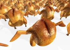 Crowd of roasted chickens. Conveyor of roasted chickens or grilled hens. 3D rendered image vector illustration