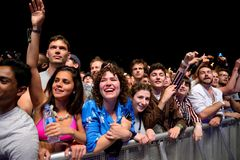 The crowd in a rock concert at Primavera Sound 2017 Festival. BARCELONA - JUN 4: The crowd in a rock concert at Primavera Sound 2017 Festival on June 4, 2017 in Royalty Free Stock Images