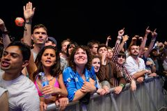 The crowd in a rock concert at Primavera Sound 2017 Festival. BARCELONA - JUN 4: The crowd in a rock concert at Primavera Sound 2017 Festival on June 4, 2017 in Royalty Free Stock Photography