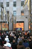 Crowd at the Rockefeller Center Stock Photo