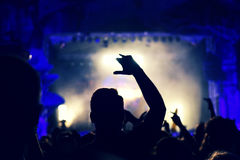 Crowd rocking during a concert with raised arms. Royalty Free Stock Photography