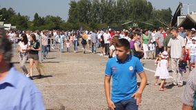 Crowd at romanian aviation day stock video